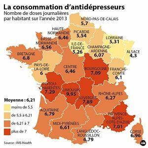 Carte de France de la consommation d'antidépresseurs: cherchez l'erreur!