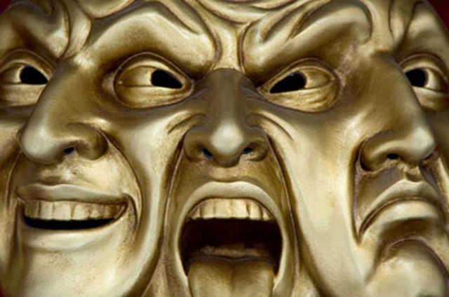 Masque de la Commedia dell'arte, genre théâtrale populaire italien, qui illustre bien la triade Pathologique.