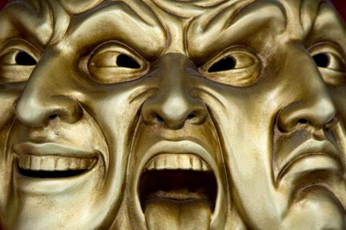 Masque de la Commedia dell'arte, genre théâtrale populaire italien, qui illustre bien la Triade PsychoPathologique. Reichlen.net