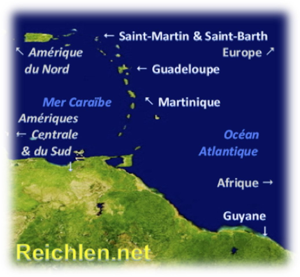 Carte des Antilles-Guyane dans la Caraïbe, Map of French West Indies in the Caribbean, Reichlen.net