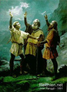 Image idéalisée du serment du Grütli (en allemand, Rütli) - Huile sur toile (1891) de Jean Renggli (1846-1898), peintre suisse
